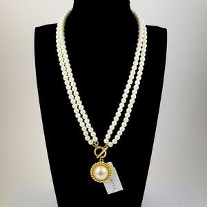 NWT! Talbots Necklace Faux Pearl Convertible